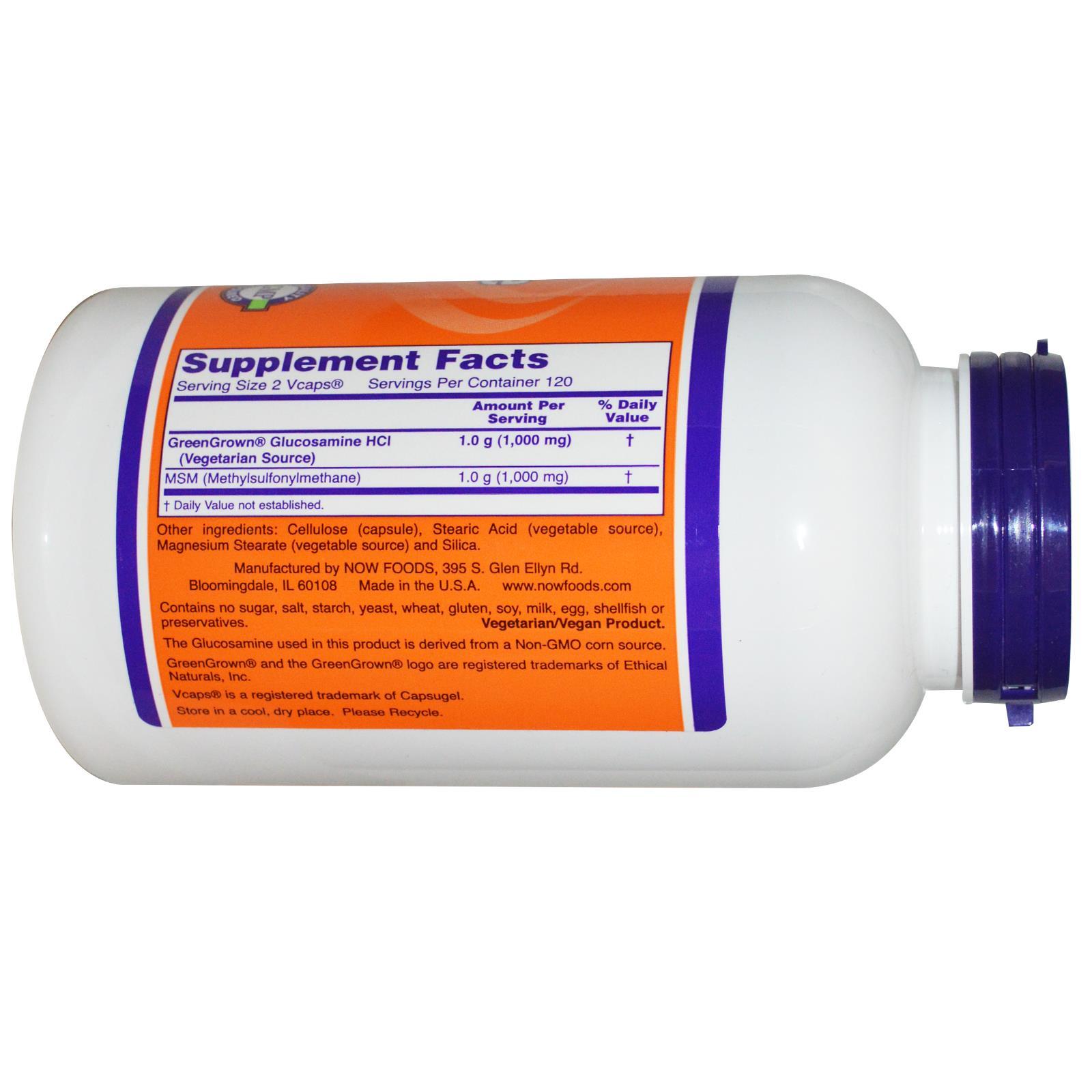 Now Foods Vegetarian Glucosamine MSM, 240 капсул
